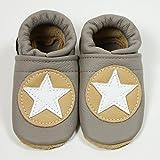 Babyschuhe, Krabbelschuhe Hausschuhe, Handmade, Star in beige. *
