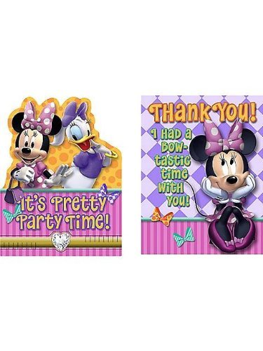 Einladungen Minnie Kostüm - Hallmark Minnie Einladung & THANK YOU (16Stück)