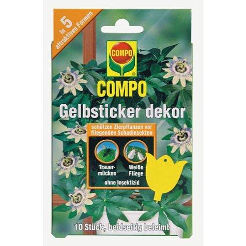 COMPO BIO Gelbsticker, dekorative Leimfalle gegen Weiße Fliegen, Trauermücken, Minierfliegen, geflügelte Blattläuse, Zikaden und Thripse, 10 Stück