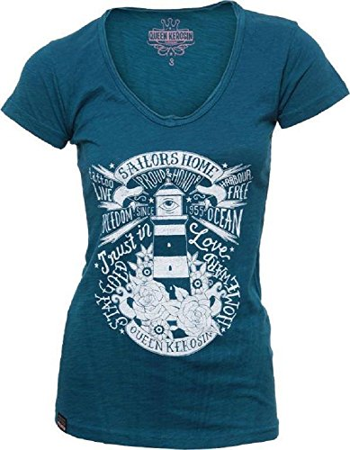 "Queen Kerosin - ""Sailors Home"" Vintage-Girl-Shirt, Farbe: Navy Navy"