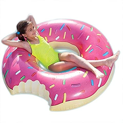 ARDISLE 90 CM NOVELTY DONUT SWIMMING INFLATABLE RUBBER SWIM RING HOLIDAY POOL FUN