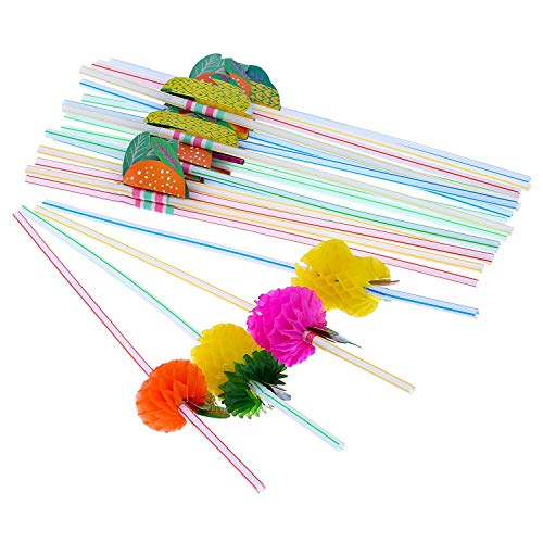 Cocktail Strohhalme,3D Obst Strohhalmen Party Dekoration Set 50 Pack Kunststoff Cocktail Trinkhalme für Tropical Drinks Strand Geburtstag Hochzeit Hawaii Party Deko