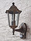Rustikale Wandleuchte in antikgold inkl. 1x 12W E27 LED 230V Wandlampe aus Aluminium & Glas für Garten/Terrasse Weg Terrasse Lampe Leuchten außen