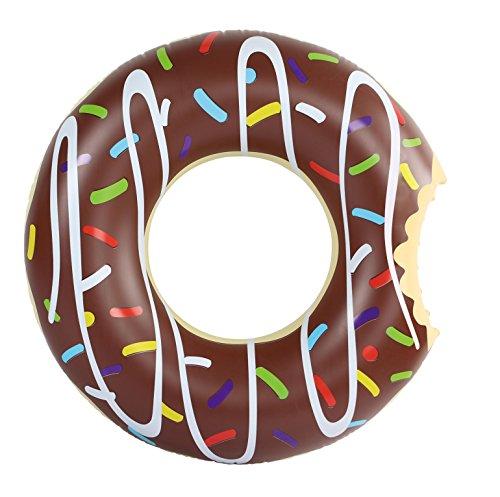 Amazing Sports aufblasbarer Donut Schwimmring 120 cm braun XXL Wasserspielzeug Luftmatratze