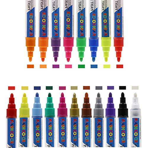 Marker Paint Stifte Permanent wasserabweisend 19Farben 6mm Tipps für Rock Keramik, Glas, Papier, Metall, Holz, Stoff Malerei, DIY Handwerk, Ostern Ei