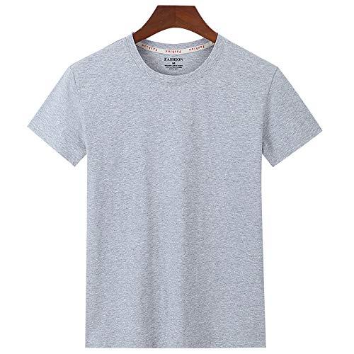 Kurzarm T-Shirt Herren Tide Brand Lässig Rundhals Baumwolle Print Halbarm Grau 5XL -