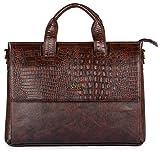 The Clownfish Crocodilan Series Vegan Leather Dark Brown 14-Inches Laptop Briefcase for Men