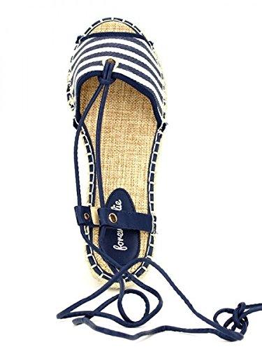 Cendriyon, Sandale à rayures façon Espadrille FOREVER Chaussures Femme Bleu