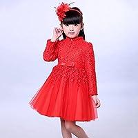 QTONGZHUANG Korean Kinder Kleid Südkorea Herbst und Winter große Rote Urlaub Neujahr Kleid Kinderkleidung Kinderkleidung
