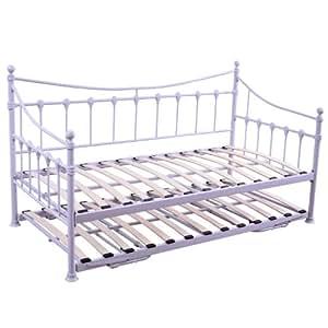 homcom simple m tal day lit gigogne lit d 39 appoint cadre. Black Bedroom Furniture Sets. Home Design Ideas