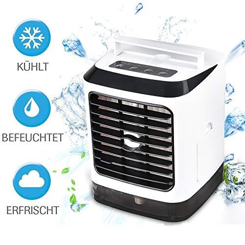 Air Cooler Mini 3 in 1 Mobile klimageräte,Klimagerät Klima tragbar, Verdunstungsgerät Lufterfrischer mobiler Luftkühler mit USB/Hydro-Chill Technologie / 3 Kühlstufen / 7 Stimmungslichter