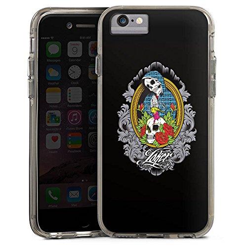 Apple iPhone 7 Plus Bumper Hülle Bumper Case Glitzer Hülle Joker - Mary Blumen Flowers Bumper Case transparent grau