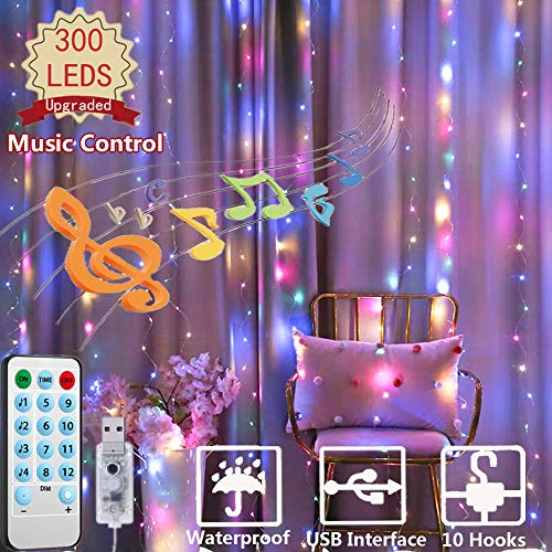 300 LED Curtain Lights, USB Plug Window Lights, 4 Music & 8 Lighting Modes Remote Control Fairy Light Waterproof LED Copper String Lights for Outdoor Indoor Wedding Party Bedroom Decor (Multicolor)