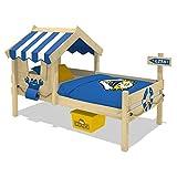 WICKEY Kinderbett CrAzY Sharky Einzelbett 90x200cm Abenteuerbett mit Lattenboden, blau