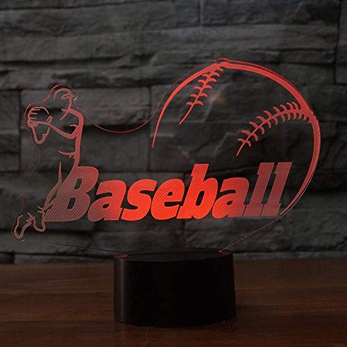 3D Baseball Lampe USB Power 7 Farben Amazing Optical Illusion 3D wachsen LED Lampe Formen Kinder Schlafzimmer Nacht Licht