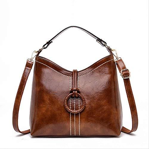 ZYF996 Frauen Mittleren Alters Tasche Retro Einfache Mode Eimer Öl Wachs Körper Handtaschen Umhängetasche Weiblichen Beutel 28CM * 25CM * 11CM Gelb