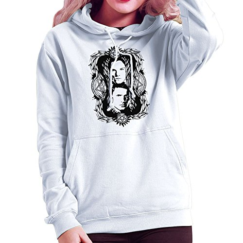 Supernatural Sam And Dean Winchester Devils Trap Montage Women's Hooded Sweatshirt (Angel Wings Hooded Sweatshirt)