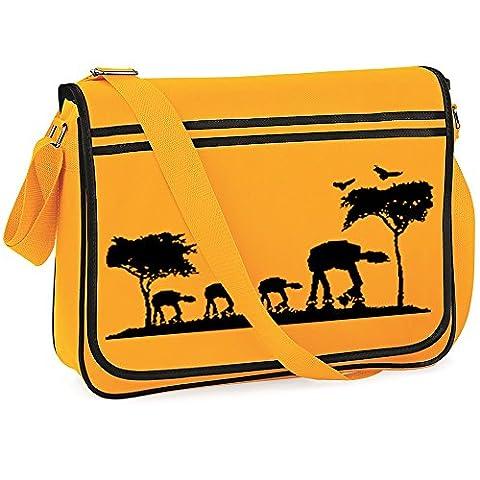 ATAT Safari Retro Messenger Bag, Satchel Holdall, Collage Bag Funny, Gold/Black