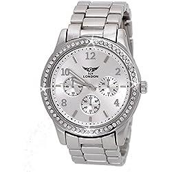 NY London designer Strass Damenuhr,Damen Armband Uhr,Chronograph Optik,Silber,inkl. Uhrenbox