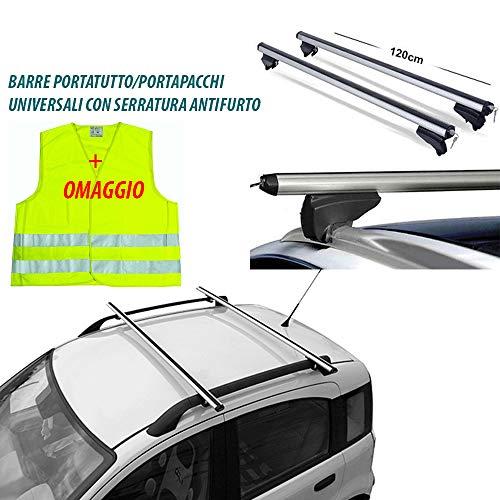 Rebeca Shop - Barre universali portapacchi per auto 120cm con barre longitudinali gia montate + Gilet di emergenza in omaggio