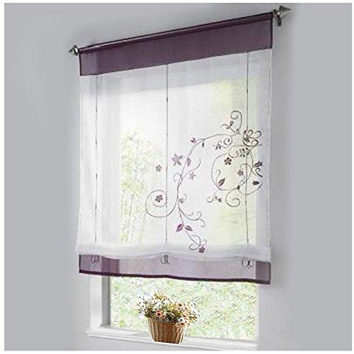 Tenda da cucina in organza, ricamata e sollevabile. tenda a pacchetto pieghevole - 1 pezzo, poliestere, purple, 60 x 120 cm