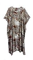 (15024) Ladies Beige with Leopard Printed Soft Silky Satin Long Kaftan. (UK 10-32)