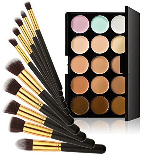 Timesong professionnel 10 pcs Cosmétique Lot de pinceaux de maquillage + 15 couleurs maquillage Anticernes Palette (Noir et Doré Poignée)