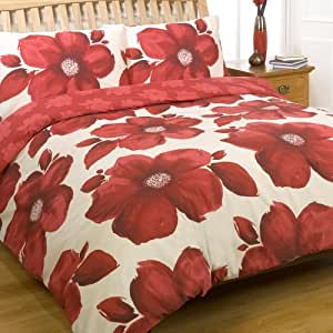 Poppy Red Wine & Cream Beige Floral Double Duvet Quilt Cover Bedding Set