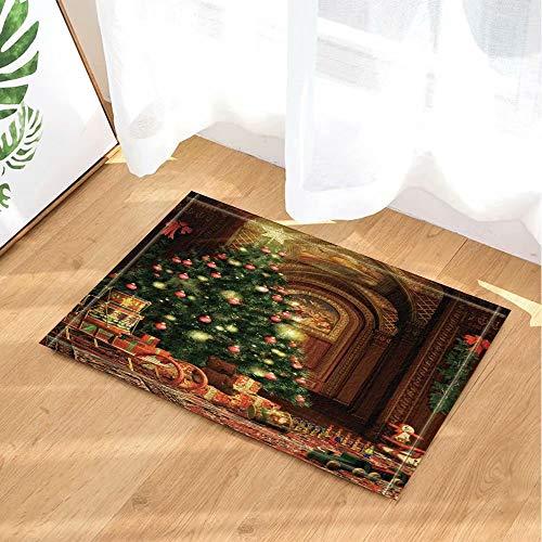 FEIYANG Neue Jahr Bad Teppiche Retro Familie Dekorationen Für Weihnachten Rutschfeste Fußmatte Boden Eingänge Innen Haustürmatte Kinder Bad Matte 60X40 cm Badzubehör
