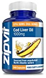 Cod Liver Oil 1000mg, Pack of 240 Softgels, by Zipvit Vitamins Minerals & Supplements EPA 90mg DHA 80mg by Zipvit