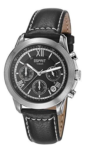Esprit Doug Oriental Men's Quartz Watch with Black Dial Chronograph Display and Black Leather