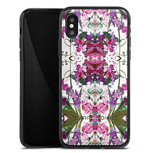 Apple iPhone X Silikon Hülle Case Schutzhülle Blumen Blumenmuster Muster Silikon Case schwarz