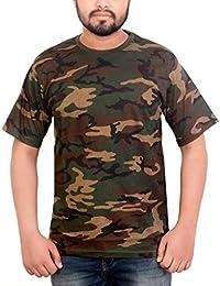 Krystle Men's Army Printed Half Sleeve Cotton T-shirt