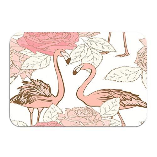 Rosa Flower Carpet Rose (ctf6hfv5 Carpet Rug Door mat Beautiful pink Rose Flowers pink Flamingo Birds Love Couple Blooming floral Elements Leaves White Color 16 * 24 inch)