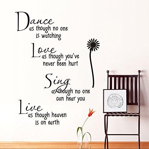 LQRRHY Tanz, als ob niemand Liebe Zitat Wandtattoos abnehmbare PVC-Wandaufkleber Home Decor Schlafzimmer DIY Wandkunst zuschaut (Für Liebe Zitate Ihre Halloween)