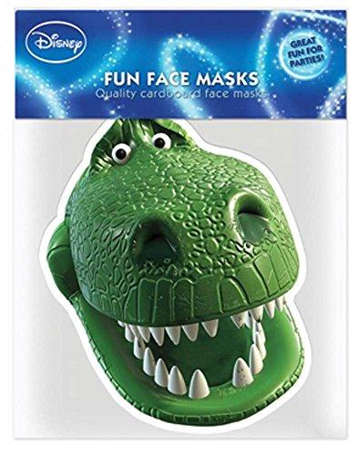Toy Story Rex–Máscara Máscara de Cartón (Efecto satinado, agujeros en los ojos y cinta de goma, tamaño 30x 20cm