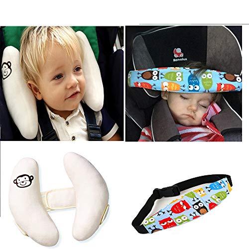 G-Baum-Auto-Sitzkopfhalsstütze Set, justierbare Baby-Kopfstütze mit Kopfstütze-Band-Kindern und Baby-U-Form-Spaziergänger Kopf-Support Schlaf-Halter-Gurt, bietet Schutz und Sicherheit für Kinder