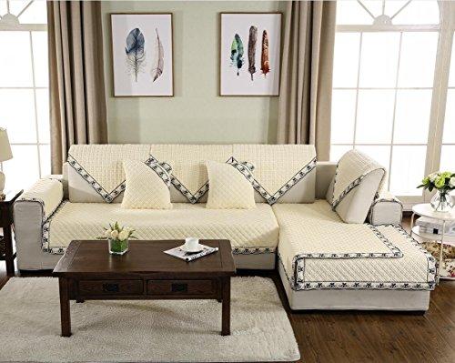 Sesselschoner,Sectional sofa werfen abdeckung Rücken und armlehne separat Slip cover anti-rutsch plüsch ideal für liege-weiß-J 35x83inch(90x210cm)