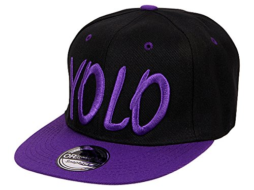 Cappy Baseballcap YOLO Hip Hop Schirmmütze Mütze Käppi Schwarz Lila Streetware