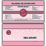 Einladungskarten zur Jugendweihe Einladung Jugendweihekarten für Mädchen inkl Ihres Namen & Daten personalisiert in Rosa / Pink - 50 Stück Einladungskarte Jugendweiheeinladungen Einladungen