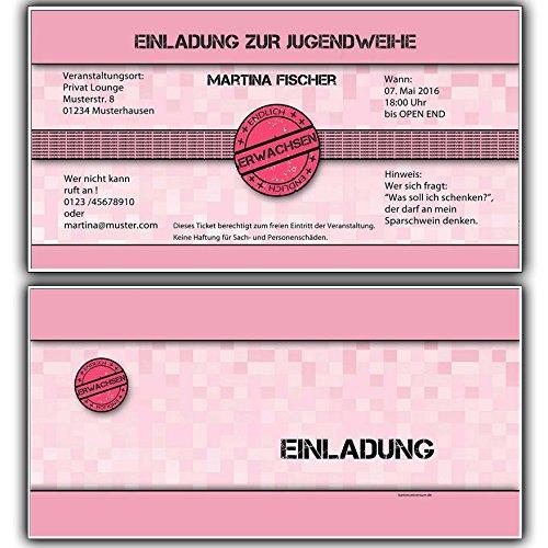 Einladungskarten zur Jugendweihe Einladung Jugendweihekarten für Mädchen inkl Ihres Namen & Daten personalisiert in Rosa/Pink - 10 Stück Einladungskarte Jugendweiheeinladungen Einladungen