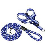 Reflektierende Hundeleine verstellbare Weste Hundehalsband geeignet für kleine, mittlere und große Hunde (Farbe : Blau, größe : S)