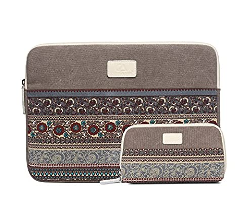 Bohemian Canvas Sleeve Case Bag for 14 inch Notebook / Ultrabook,Sleeve for Mouse,Light Gray