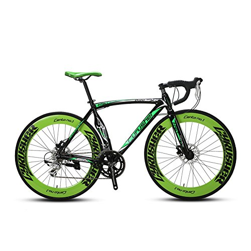UK Lieferung extrbici XC700 Sports Racing Road Bike 700 cx54 cm Aluminium Legierung Rahmen 14 Speed Shimano 2300 Mans Road Bike Double Mechanische Scheibenbremsen cyrusher beliebtes Modische Rahmen Malerei, grün