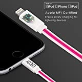 LED Lightning to USB Cable Apple MFi Certified, CACOY Flowing Light Data Sync Charging Lead for iPhone 7 6 Plus 5s 5c 5 SE iPad Air mini 2 4 iPod Touch 5 and More - 3.3Ft/1M- Pink Purple Light