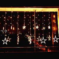 Elegear Guirnalda Luces 12 Estrellas 2m 8 Modos de Flash LED Iluminación de Ambiente Navidad de decoración (EU) Voltaje Bajo para Bodas Festival Cortinas Pared Escaparate Bar (Blanco cálido Star)