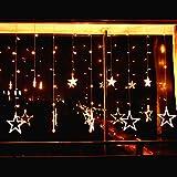 138 LEDs Lichterkette mit 12 Sterne Elegear Kalt Warmweiß Lichtervorhang 2m Sternenvorhang Weihnachten Party Deko 8 Modi Lichter vorhang Festen Kupfer String licht für Fenster Garten und Haus