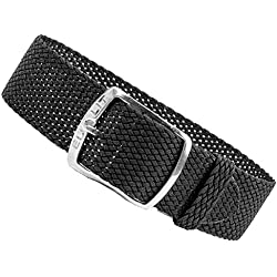 Kristall Replacement Band Perlon Strap Textile Strap black leather, braided, waterproof 25592S, width:18mm