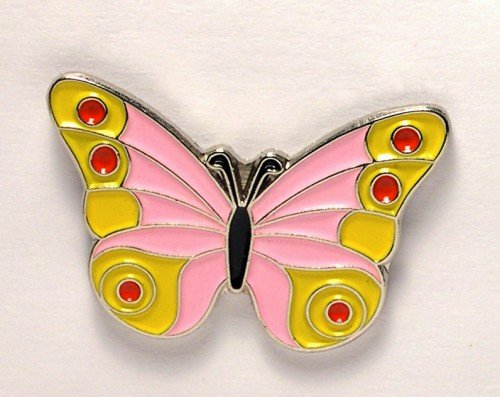 Metal Enamel Pin Badge Brooch Butterfly Pink & Yellow
