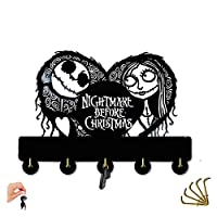 AUUNY Nightmare Before Christmas Hanging Wooden Hanger Unique Gift Clothes Hat Key Hook/Coat Rack/Wall Hook Home Decoration Wall Stickers Kitchen Bathroom Towel Hook,Black